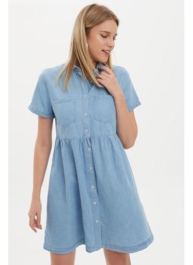 DeFacto Düğme Detaylı Relax Fit Yazlık Jean Elbise Mavi